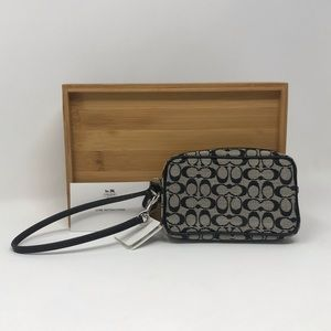 Coach Signature Fabric Wristlet/Wallet, Black
